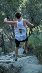 Ben Duffus Pomona King of the Mountain Running Downhill wearing Inov8 Trailroc245