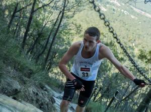 Ben Duffus Pomona King of the Mountain Running Uphill wearing Compressport Trail shorts