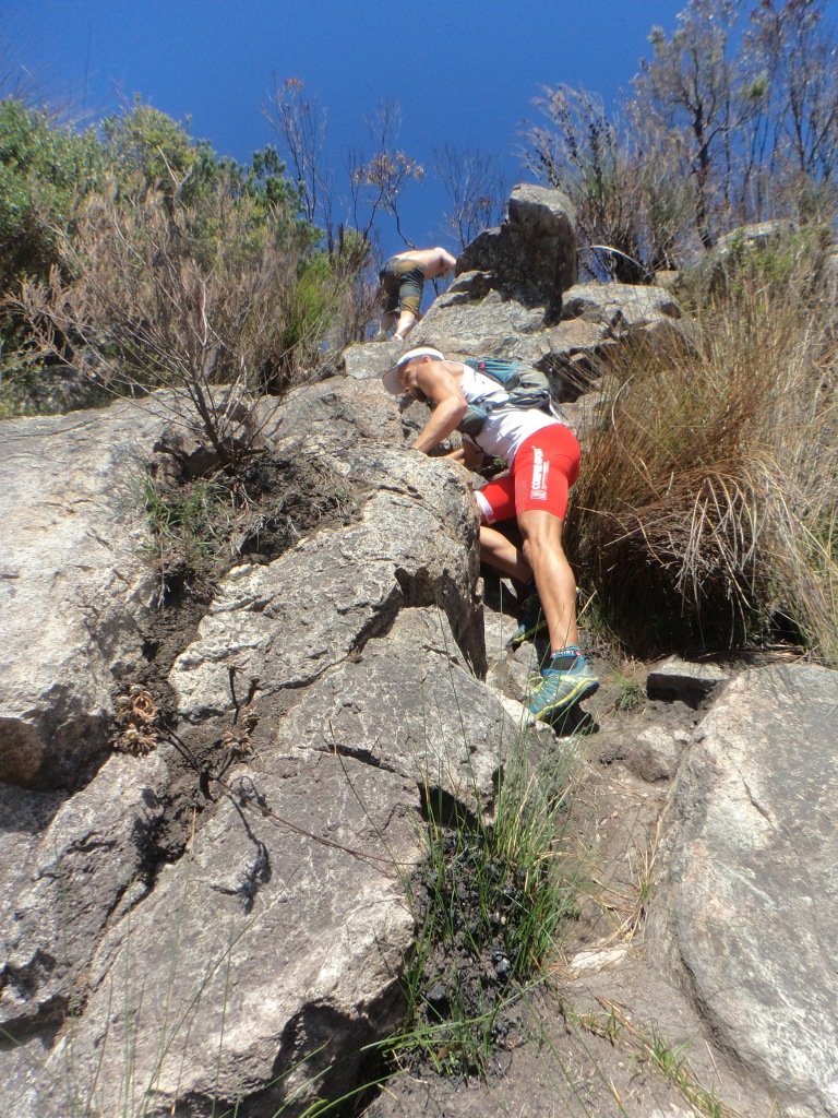 Dave Coombs climbing Mt Barney