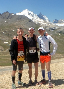 L to R: Andrew Duffus, James Stewart and Ben Duffus after the Kilomètre Vertical Face De Bellevarde